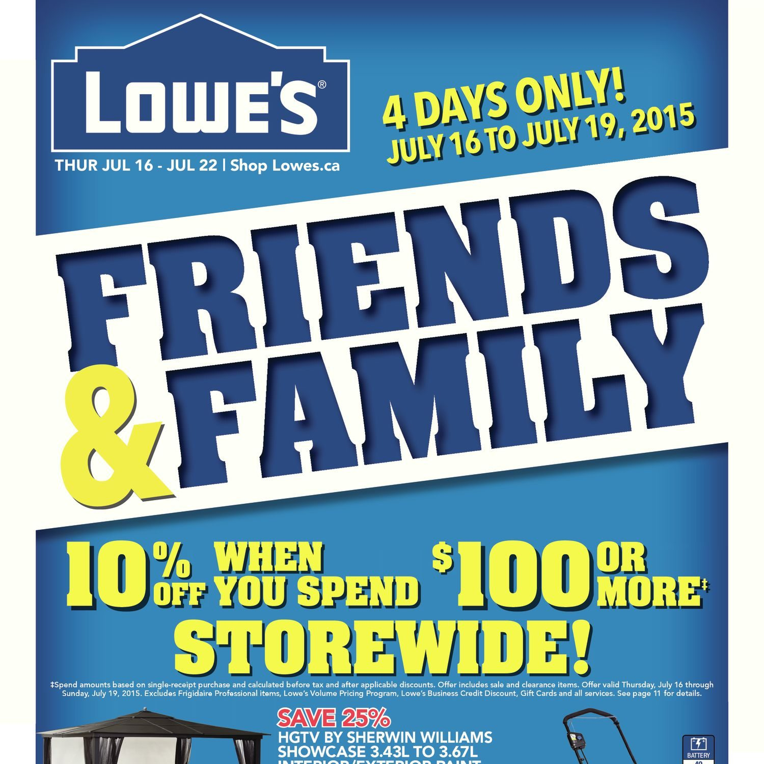 lowe s weekly flyer weekly friends family jul 16 – 22