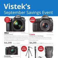 Vistek - September Savings Event Flyer