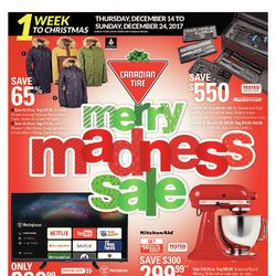 Canadian Tire - 1 Week to Christmas - Merry Madness Sale Flyer