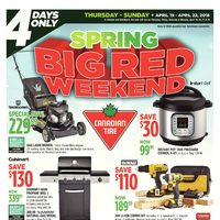 Canadian Tire - 4 Days Only - Spring Big Red Weekend Flyer