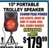 "15"" Portable Trolley Speaker"