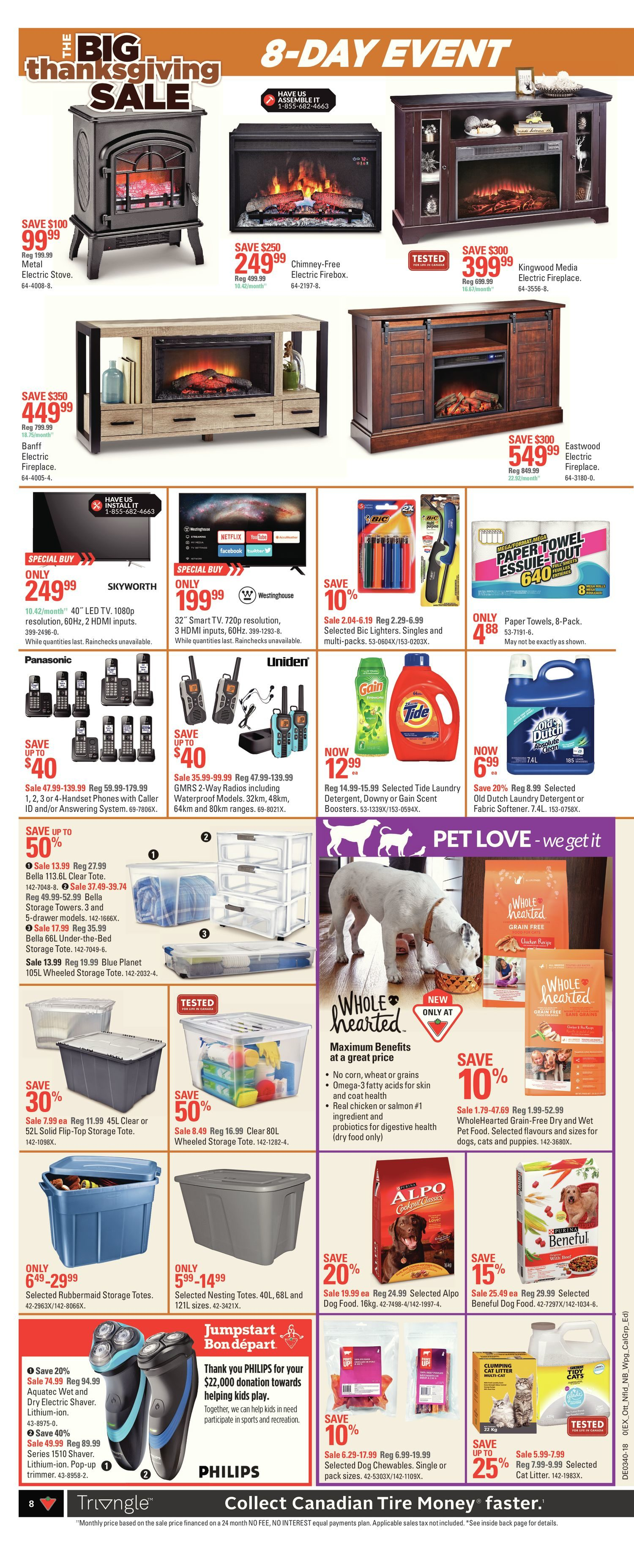 Canadian Tire Weekly Flyer 8 Day Event The Big Thanksgiving Sale Wooden Clock Bamboo 1293 Red Lightblue Lightgreen Light Sep 27 Oct 4