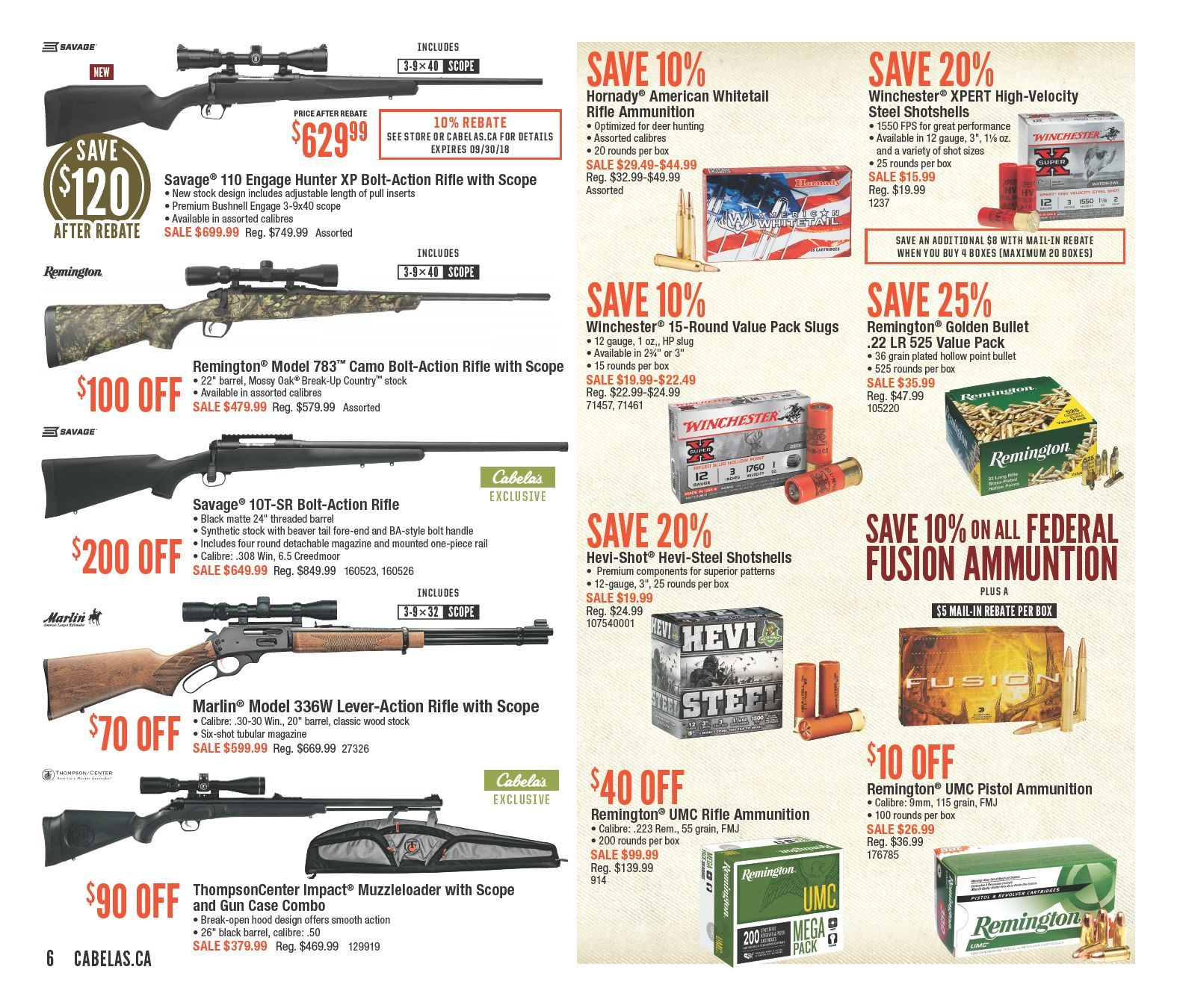 Cabelas Weekly Flyer - Fall Into Savings! - Sep 21 – Oct 7