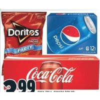 Coca-Cola, Canada Dry or Pepsi Soft Drinks, Frito Party Size Chips