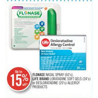 Flonase Nasal Spray, Life Brand Loratadine Soft Gels Or Desloratadine Soft Gels Or Desloratadine, Allergy Products