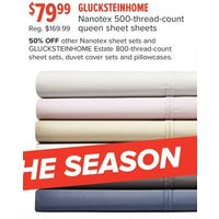 Glucksteinhome Nanotex 500-Thread-Count Queen Sheet Sheets