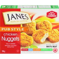 Janes Popcorn Chicken, Pub Style Chicken Burgers, Fries, Nuggets Or Strips