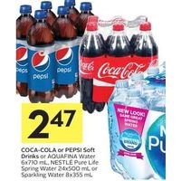 Coca-Cola Or Pepsi Soft Drinks Or Aquafina Water, Nestle Pure Life Spring Water Or Sparkling Water