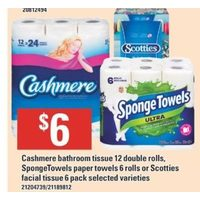 Cashmere Bathroom Tissue, Spongetowels Paper Towels Or Scotties Facial Tissue