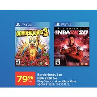 Borderlands 3 Or NBA 2K20 For Playstation 4 Or Xbox One