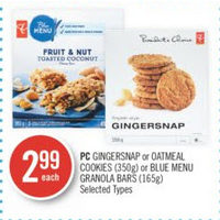 PC Gingersnap Or Oatmeal Cookies Or Blue Menu Granola Bars