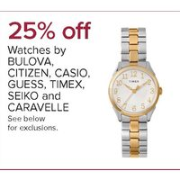 Watches By Bulova, Citizen, Casio, Guess, Timex, Seiko And Caravelle