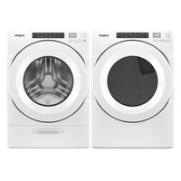 Whirlpool 5.2 Cu. Ft. I.E.C Closet Depth Front Load Washer And 7.4 Cu. Ft. Electric Dryer