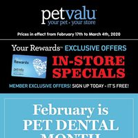 Pet Valu - Your Rewards Exclusive Offers - In-Store Specials Flyer