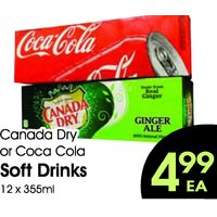 Canada Dry Or Coca Cola Soft Drinks