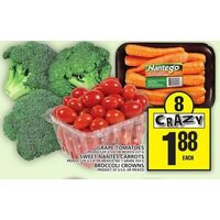 Grape Tomatoes, Sweet Nantes Carrots or Broccoli Crowns