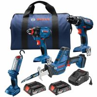 Bosch 18-V 4-Tool Combo - Free Bosch 18-V Li-Ion Power Tool Battery