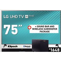 "LG 75"" UHD TV + Klipsch Sound Bar and Wireless Subwoofer Package"