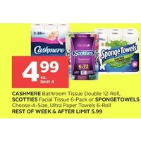 Cashmere Bathroom Tissue Double, Scotties Facial Tissue Or Spongetowels Choose-A-Size, Ultra Paper Towels