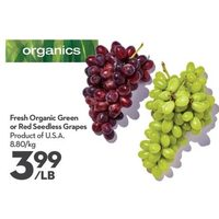 Fresh Organic Green Or Red Seedless Grapes