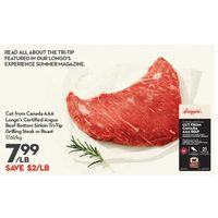 Longo's Certified Angus Beef Bottom Sirloin Tri-Tip Grilling Steak Or Roast