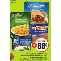 Holiday Luncheon Meat, Michelina's Entrees, Swanson Meat Pies, Puck Thickened Creamy Product