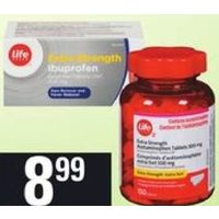Life Brand Extra Strength Acetaminophen or Ibuprofen or Allergy Capsules