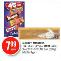 Cadbury, Maynards Fun Treats Or Lindt Swiss Classic Chocolate Bar