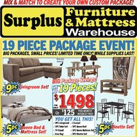 Surplus Furniture - 19-Piece Package Event! Flyer