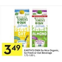 Earth's Own So Nice Organic, So Fresh Or Oat Beverage