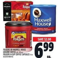 Folgers or Maxwell House Ground Coffee or Folgers K-Cup Coffee Capsules