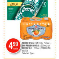 Perrier Slim Can, San Pellegrino Or Perrier Sparkling Water