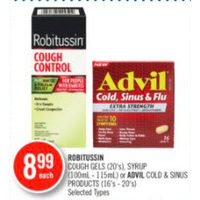 Robitussin Cough Gels, Syrup Or Advil Cold & Sinus Products