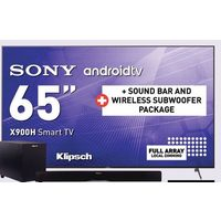 "Sony 65"" Androidtv, Klipsch Sound Bar and Wireless Subwoofer Package"