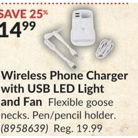 Wireless Phone Charger with USB LED Light and Fan