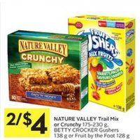 Nature Valley Trail Mix Or Crunchy, Betty Crocker Gushers Or Fruit By The Foot