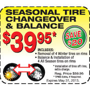 Seasonal Tire Changeover & Balance - $39.95 (Save $20.00)