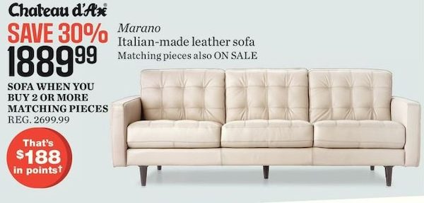 Sears Chateau D Ax Marano Italian Made Leather Sofa Redflagdeals Com