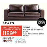 Sears Bronx 83 Leather Sofa