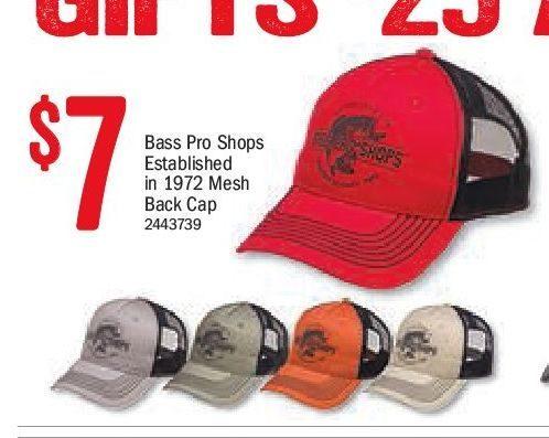 2b431593c7b Bass Pro Shops  Bass Pro Shops Established In 1972 Mesh Back Cap -  RedFlagDeals.com