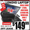 "Lenovo Laptop 11.6"" - $149.99"