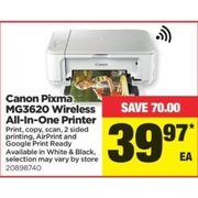 Canon Pixma MG3620 Wireless All-In-One Printer - $39.97 ($70.00 off)