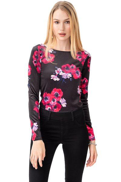 f590d8c9b2c19 Suzy Shier Suzy Shier Floral Velvet Bodysuit With Low Back -  9.45 ( 22.55  Off) Suzy Shier Floral Velvet Bodysuit With Low Back