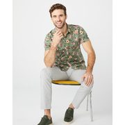 Slim Fit Short Sleeve Stretch Khaki Floral Shirt - $29.95 ($39.95 Off)