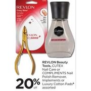 Revlon Beauty Tools, Cutex Nail Care or Compliments Nail Polish Remover, Implements or Luxury Cotton Pads - 20% off