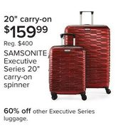 "Samsonite Executive Series 20"" Carry-On Spinner - $159.99"