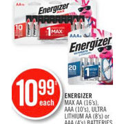 Energizer Max AA, AAA Ultra Lithium AA Or AAA Batteries - $10.99